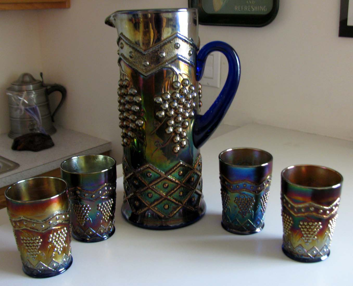 Lattice & Grape Pitcher and Tumblers