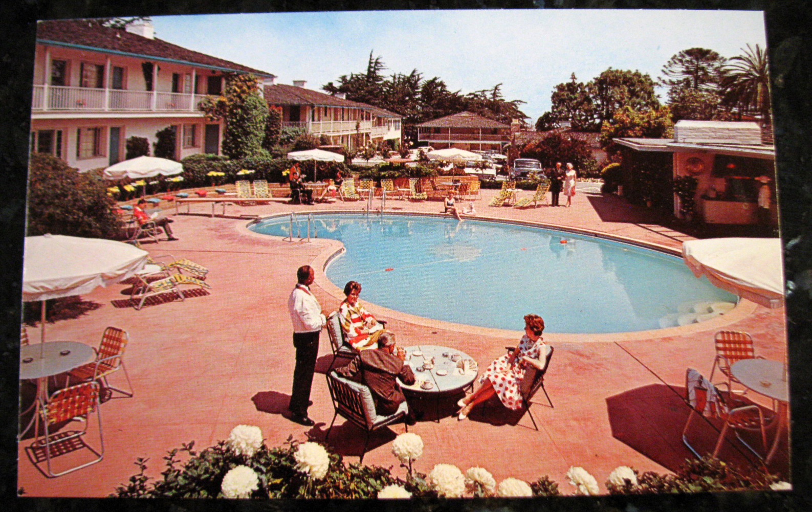Unused postcard vintage casa munras garden hotel for Pool show monterey